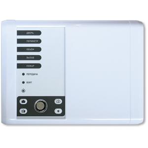 РИФ-ОП5(RS-202TDm) Контрольная панель охранно-пожарной сигнализации с 5-ю фиксированными шлейфами, встроенными радио передатчиком на 433 МГц, кнопками постановки-снятия, считывателем Touh Memory и ББП под аккумулятор 12В/1.2Ач